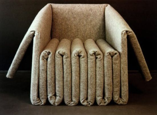Made by folding and gluing layers of industrial felt, Elephant Seating, designed by architect Ben Ryuki Miyagi