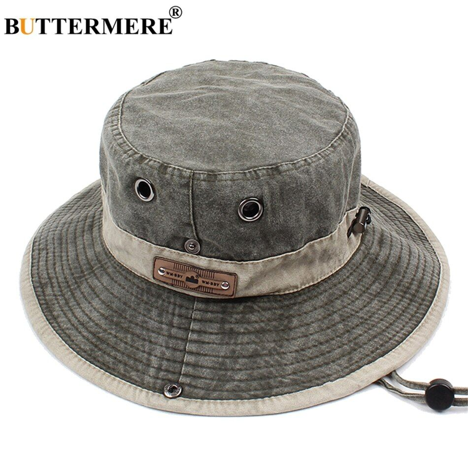 5cba74f7a BUTTERMERE Men Bucket Hats Denim Casual Classic Vintage Fishing Hat ...