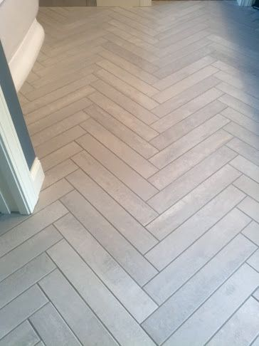 LDK Bathroom Floor With Herringbone Tile