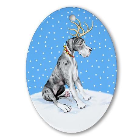 Great Dane Deer Merle Uc Oval Ornament By Danes R Us Mantle