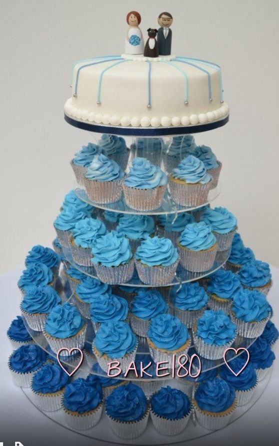 Blue Wedding Cupcake Tower Maybe With A Tardis Topper Kat S