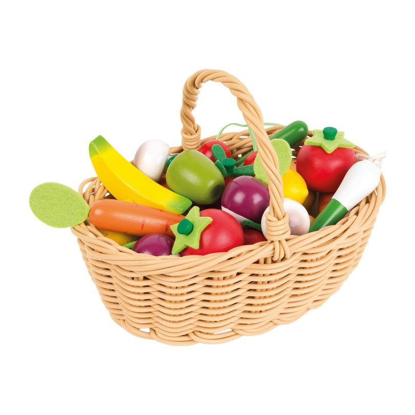 24 Pieces Fruits & Vegetables Basket - Play Kids Play Food & Accessories - Maisonette