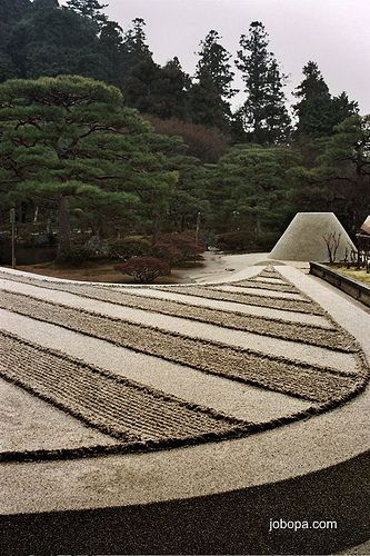 Zen garden in Ginkakuji Temple, kyoto, Japan   one of the best tours I did in Kyoto. :-)    A Zen garden is a well-known and increasingly popular Form of Japanese Garden. It is also called