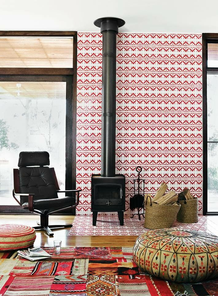 Red and white tile behind the fireplace | AphroChic: Print & Pattern ...