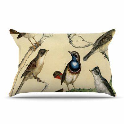 East Urban Home Suzanne Carter 'Vintage Birds' Nature Pillow Case
