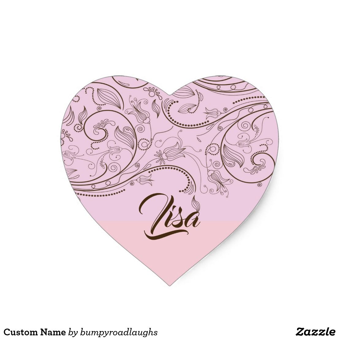 Custom name heart sticker zazzle com bumper stickers stickers