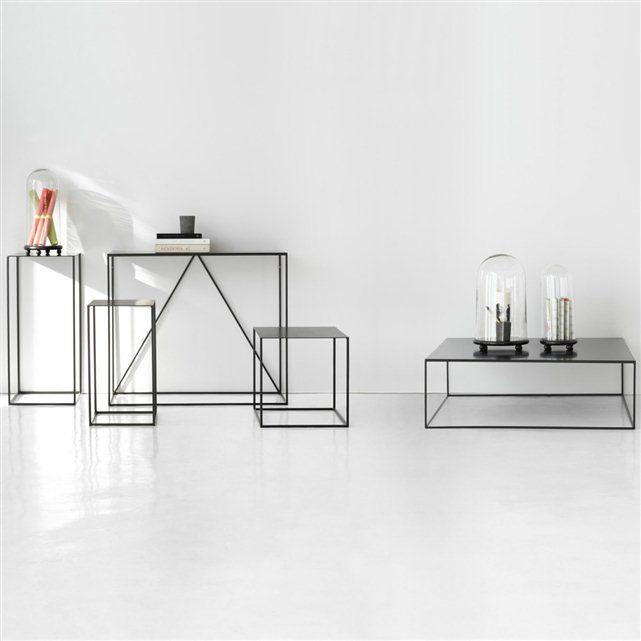 Uitschuifbare tafeltjes in gelakt metaal (set van 2) Romy