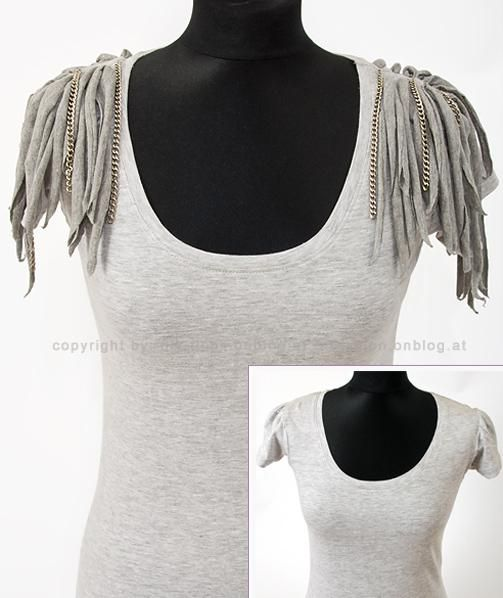 Clothes : DIY Advent 21: Spice Up a T-shirt with Fabric Remnants and Chains