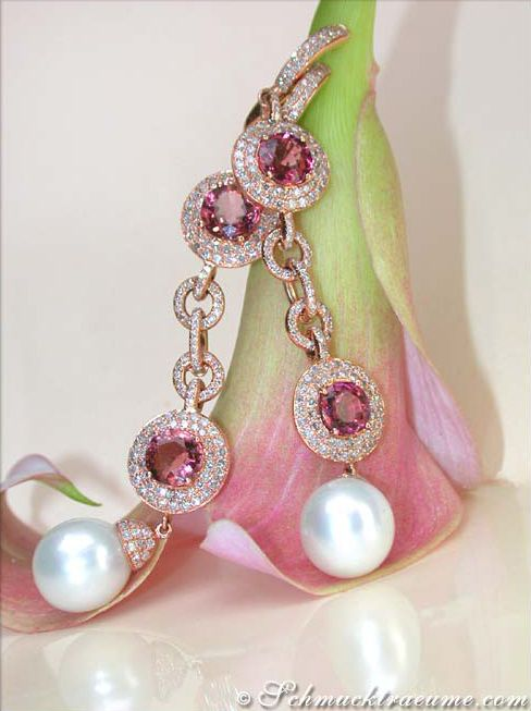 Earrings w/Southsea Pearls, Tourmalines & Diamonds