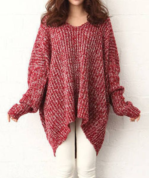49a0924f3d Wholesale Plus Size Irregular Hem Color Block Long Sleeve V-Neck Pullover  Sweater For Women (RED AND WHITE