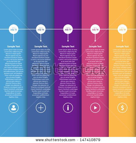 Colorful Flat Timeline Template   EPS10 Vector Illustration   can - sample advertising timeline