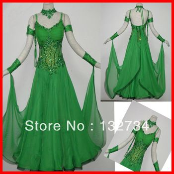 Green Tango Dresses for Women | 2013 Ballroom Waltz Tango Ballroom Dance Dress, Smooth Ballroom Dress ...
