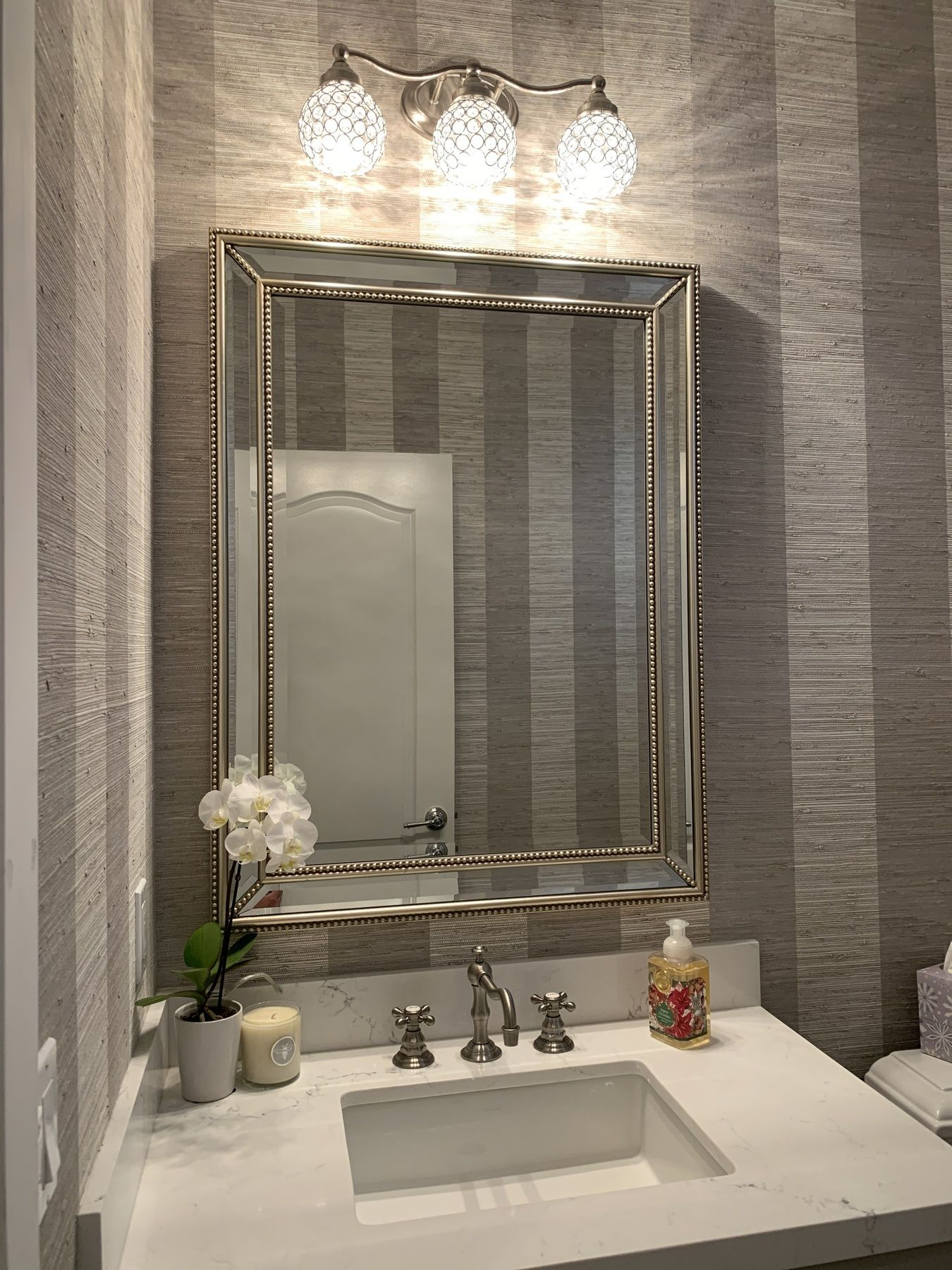 Uttermost Palais Silver 30 X 40 Beaded Wall Mirror 6d394 Lamps Plus In 2020 Large Bathroom Mirrors Mirror Wall Bathroom Mirror Design