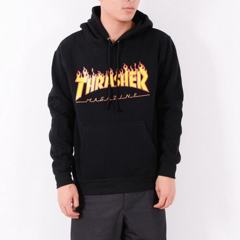 Hip hop Thrasher Hoodie men tracksuit Moletom skate sweatshirt hip ...