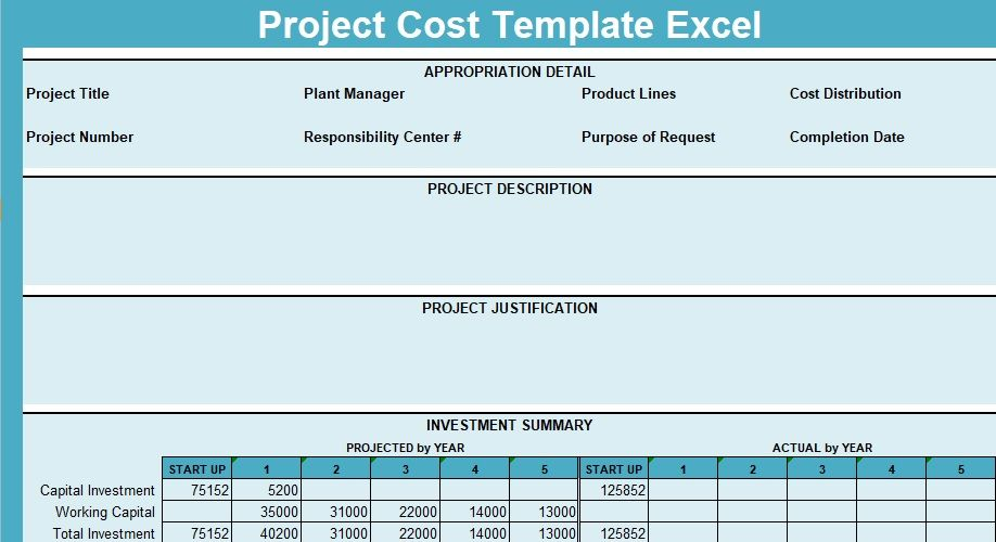Project Cost Template Excel ProjectTactics Project Management - Project costing template excel