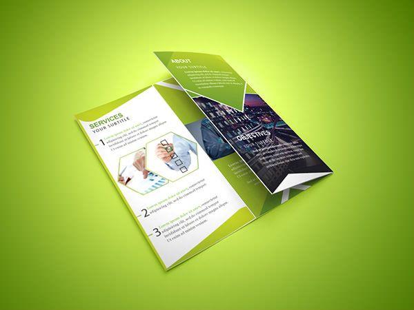 Livre Trifold Folheto Corporativo Festa Pinterest Mockup - Photoshop tri fold brochure template free