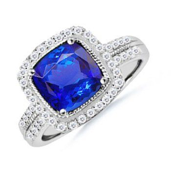 Angara Vogel Cushion Sapphire and Diamond Halo Ring in 14k Yellow Gold