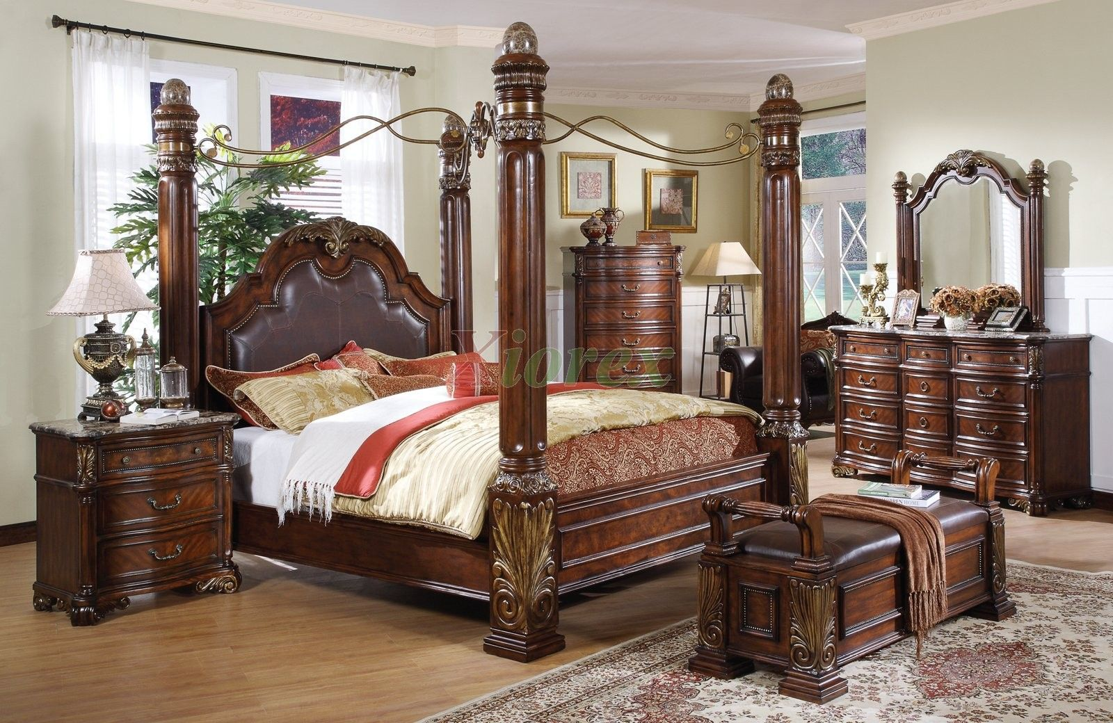 Bedroom Sets With Posts leather headboard post bed with a metal canopy. i like how sturdy