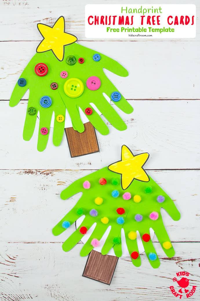 handprint christmas tree cards  handprint christmas tree