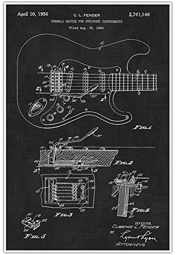 Fender electic guitar musical instrument patent art print blueprint fender electic guitar musical instrument patent art print blueprint art patent print poster musical artist gift malvernweather Image collections