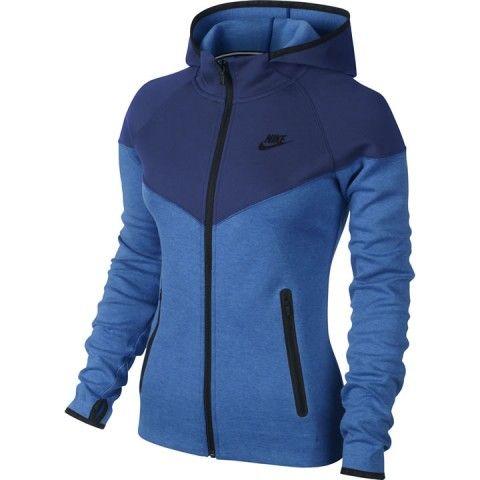 c8b8d145f4fb Tenniskleding dames Nike Tech Fleece Full Zip Hoody Blu dark blue -  TennisPlanet.be