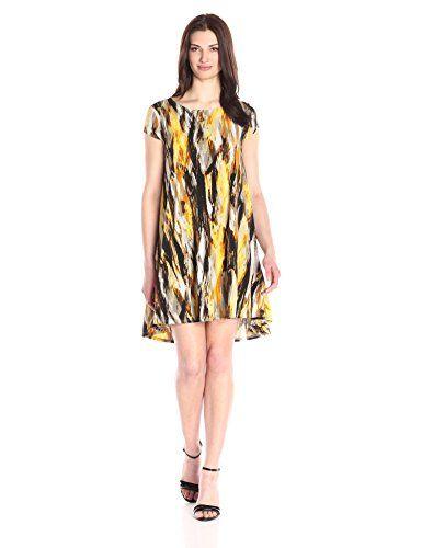 1d590d99e82 Karen Kane Women s Brushed Yellow Maggie Trapeze Dress...