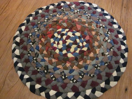 Vintage Braided Primitive Rag Rug Measures 22 Across In Wonderful Condition Ebay