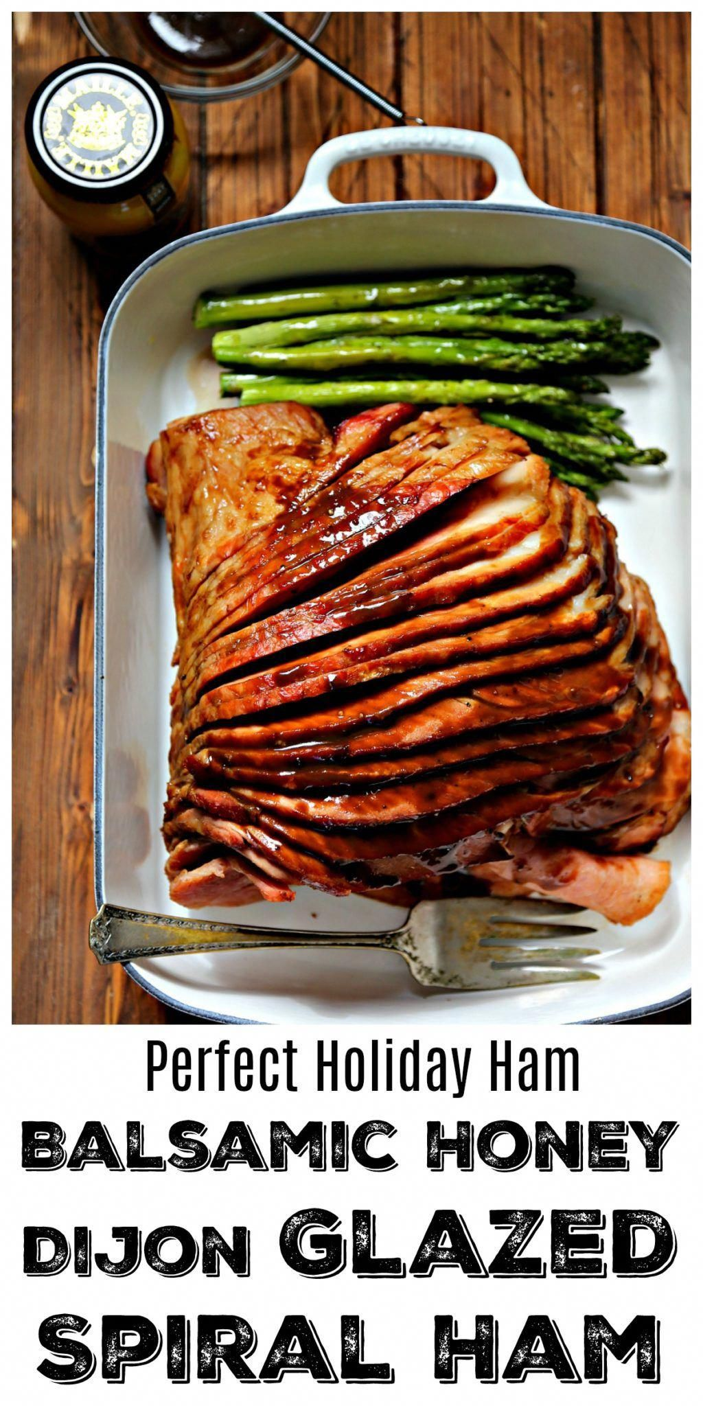 This Balsamic Honey Dijon Glazed Spiral Ham is the holiday ham recipe you're looking for. #OhMaille, the balsamic honey Dijon glaze is the perfect combination of sweet and savory flavors. So easy to prepare it's almost effortless. #Ad Made with Maille® Honey Dijon Mustard #recipes #ham #pork #easter #easyrecipe #holiday #holidayrecipes #MyMaille #IDidItMailleWay #Walmart #balsamicrecipes