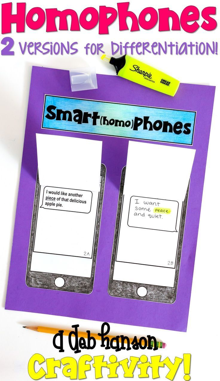 Homophone Craftivity- Includes two versions for differentiation! Fun activity for 2nd, 3rd, 4th, and 5th graders!