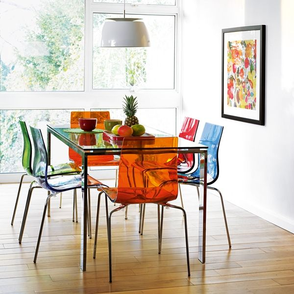 Multi Coloured Clear And Coloured Chairs Another Version Of The Ghost Chair Which I Love For It S Modern C Boho Dining Room 6 Seater Dining Table Dining Table