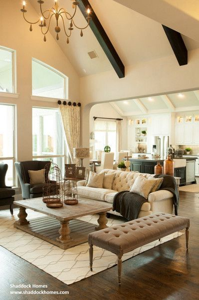 Dark Beams And Light Ceiling Color Is Amazing Faux Wood Beams In 2020 Farm House Living Room Apartment Living Room Layout Living Room Seating