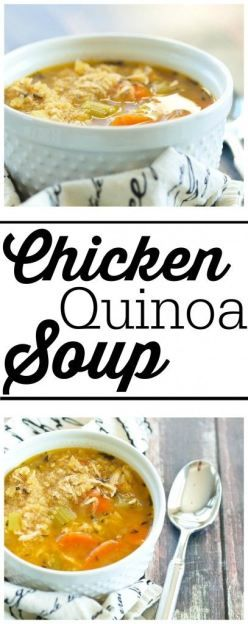 Chicken Quinoa Soup is an updated classic!  All the flavor of chicken noodle soup but with healthy quinoa in place of the noodles! This is a fabulous dinner recipe.  I love a whole meal in one bowl. #NationalChickenNoodleSoupDay
