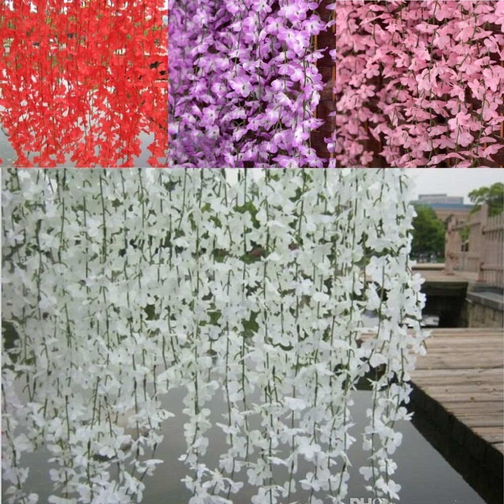 5 Branchs Pcs Wisteria Rattan Artificial Silk Cherry Blossom Wall Hanging Flower Vine For Garden