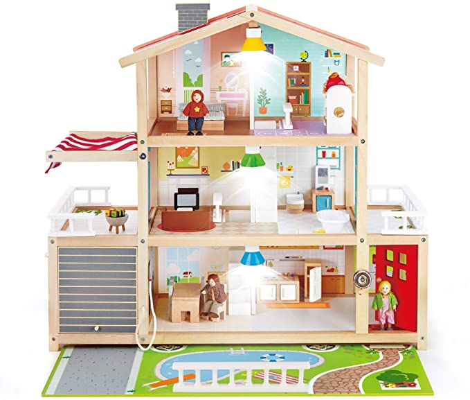 Hape Doll Family Mansion Award Winning 10 Bedroom Doll House Wooden Play Mansion with Accessories for Ages 3 Years