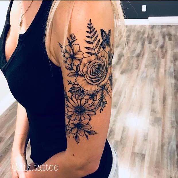 Upper Arm Tattoo Woman: 43 Beautiful Flower Tattoos For Women