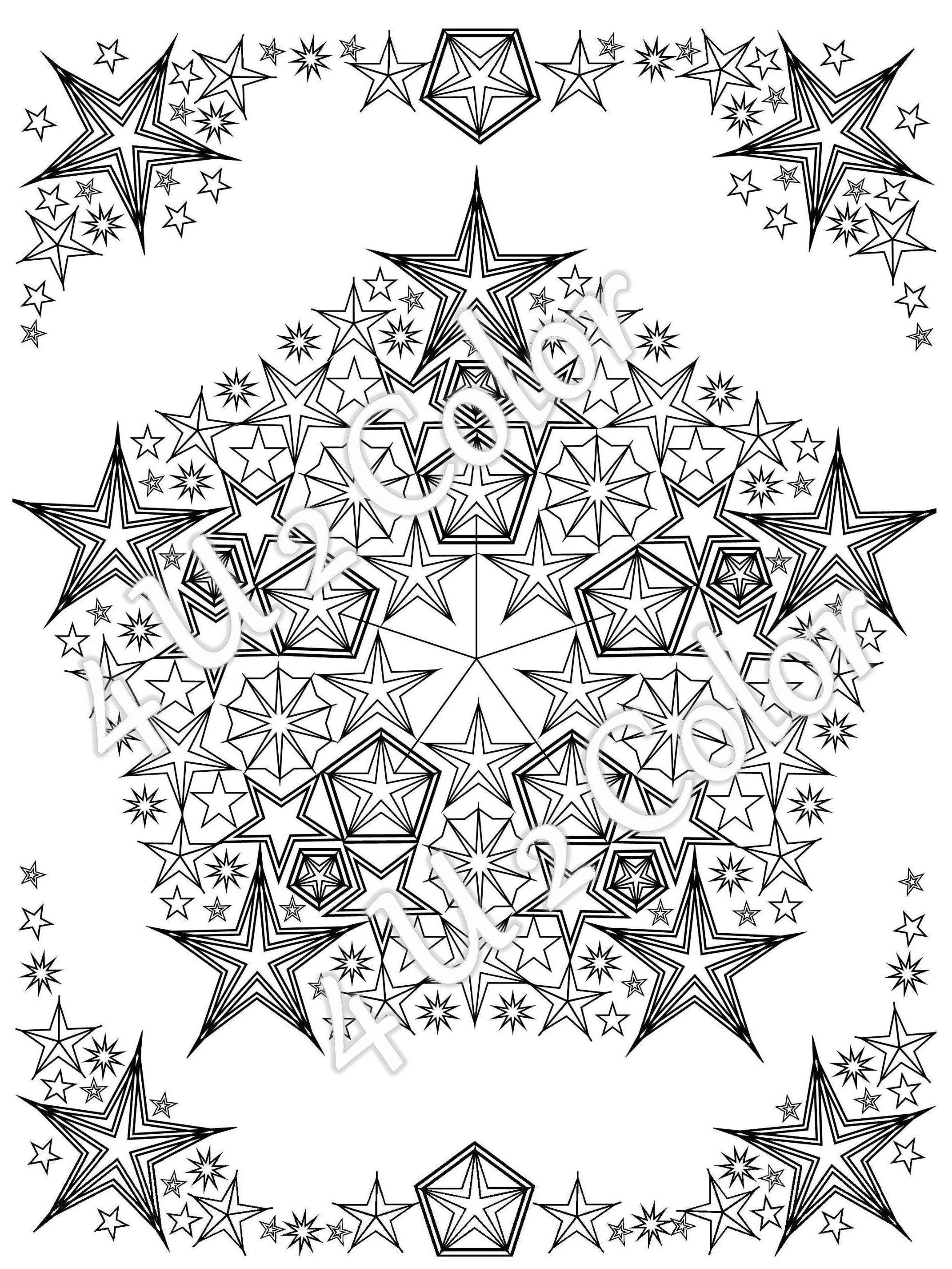 Star Mandala 2 Coloring Page Star Mandala Coloring Page Etsy In 2020 Star Coloring Pages Mandala Coloring Coloring Pages