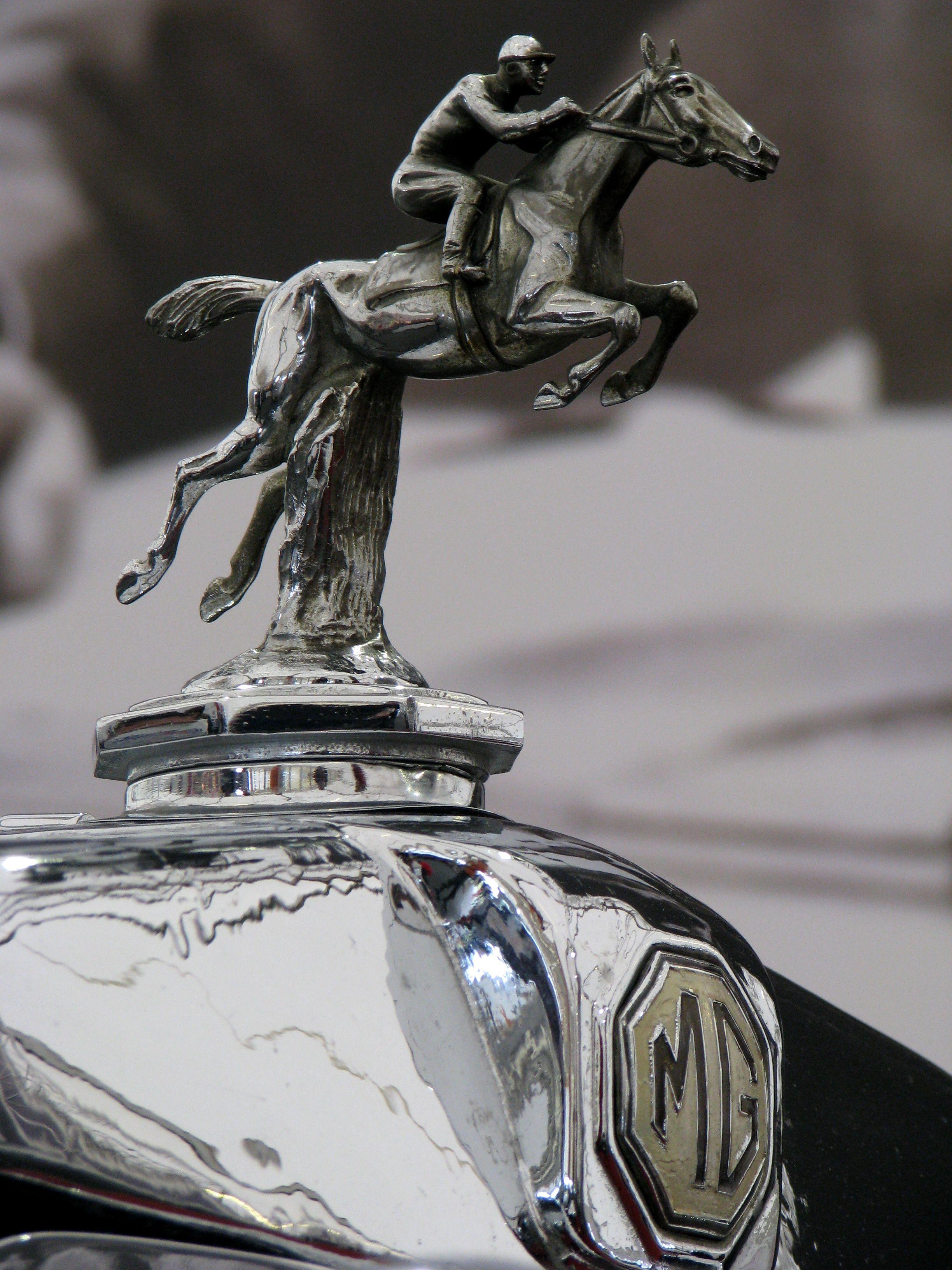 Mg Logo Horse Riding Man Hood Ornament Hoodornament Design Un