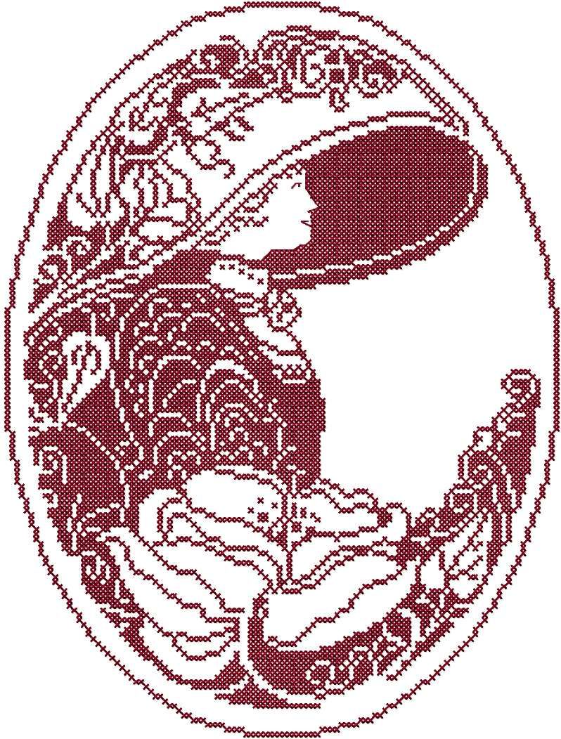 Woman In Hat Cross Stitch Free Embroidery Design Cross Stitch