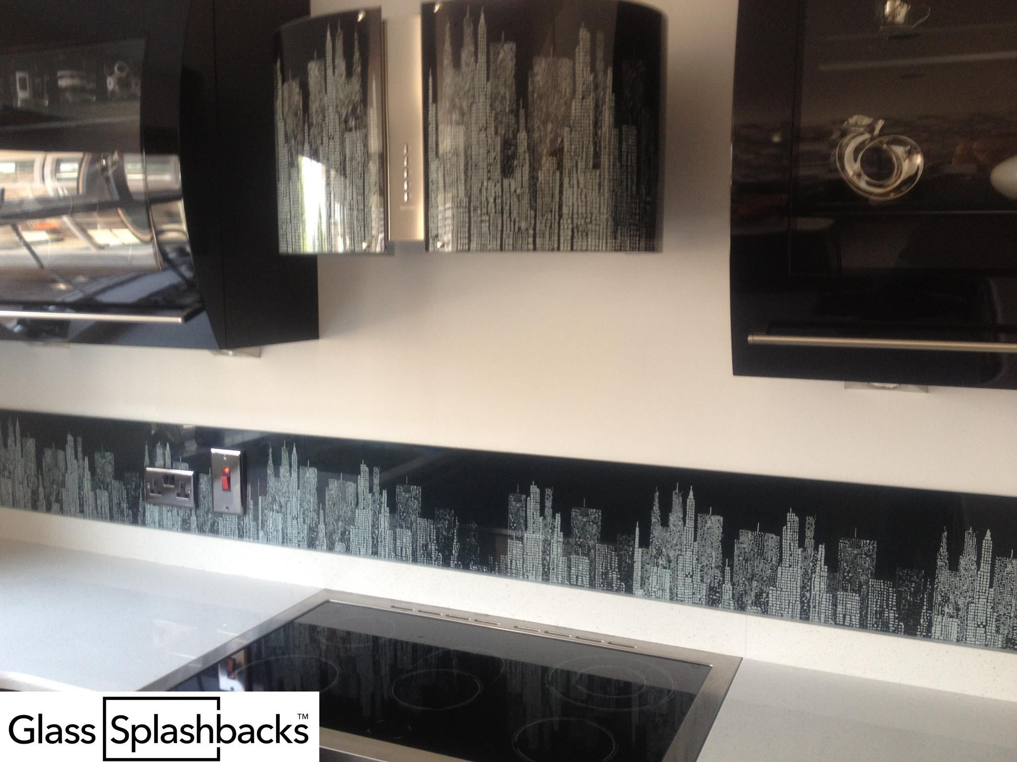 Black patterned glass splashback. We create bespoke glass products in any  colour, pattern or  Printed Glass SplashbacksCooker HoodsColour ...