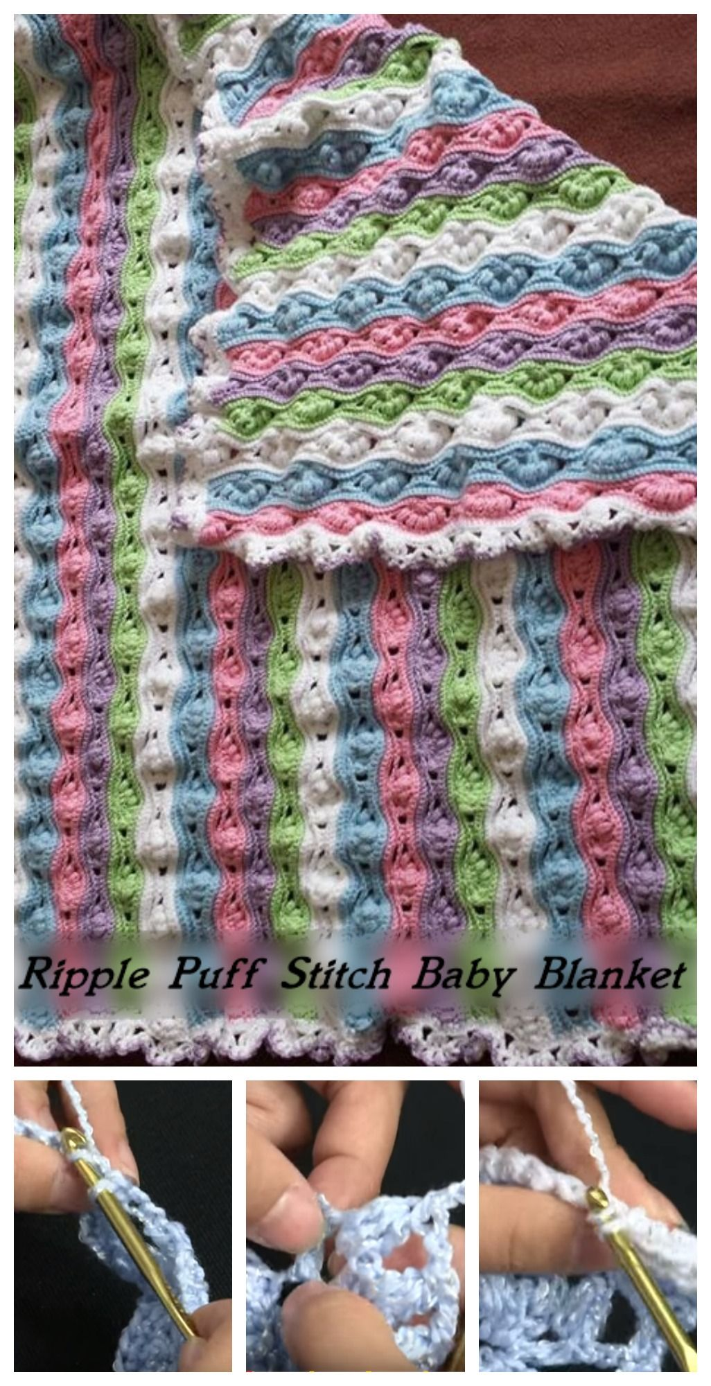 Crochet Ripple Puff Stitch Baby Blanket   Cobija, Puntadas y Manta