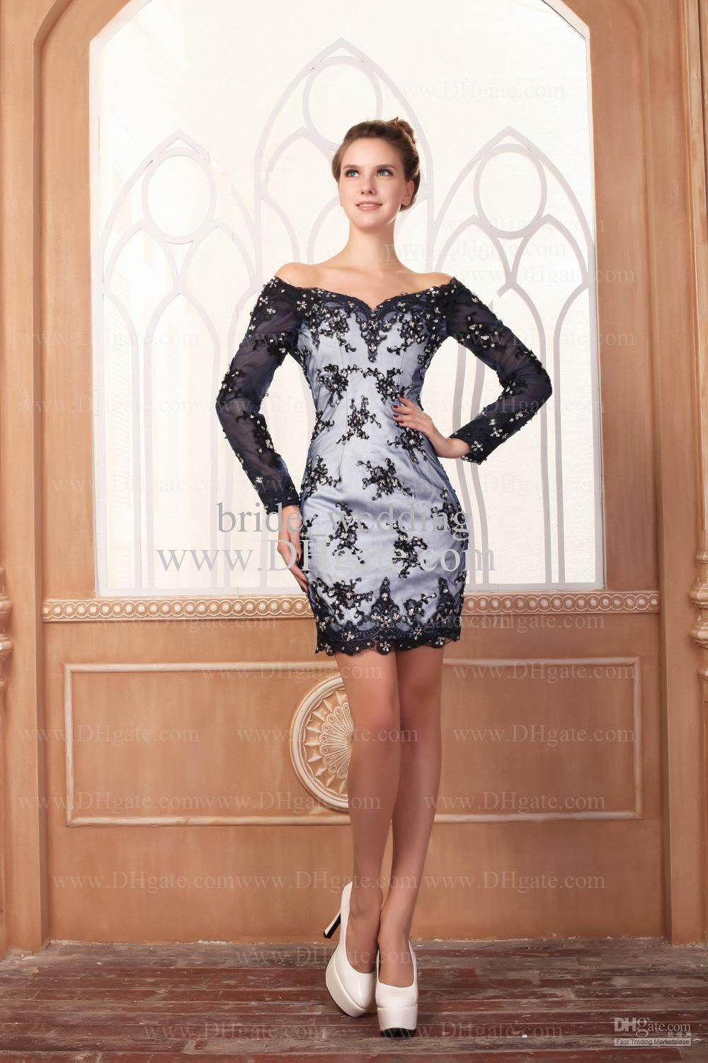 Black and silver lace sheath off shoulder homecoming dresses long