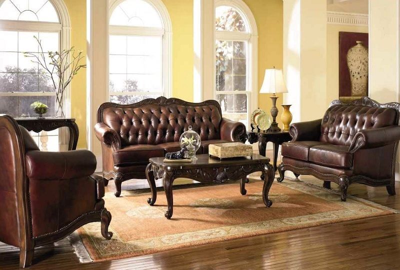 Victoria Genuine Tufted Top Grain Leather Living Room Set Exposed