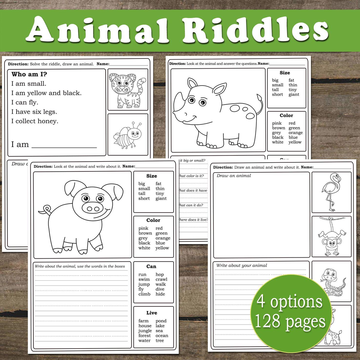 128 Animal Riddles Worksheets (Zoo, Farm, Ocean Animals