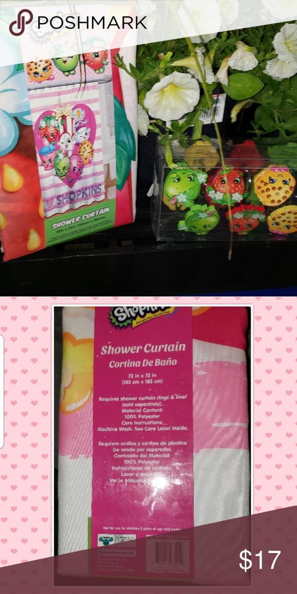 Shopkins Shower Curtain 12 Shower Hooks Nwt Shopkins