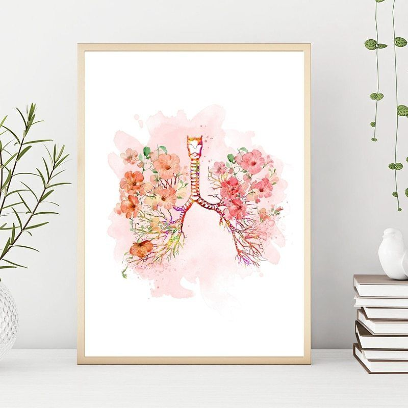 Lungs and Flower Print Bronchi Watercolor Medical Anatomy Lungs Wall Art Canvas Painting Anatomical Medicine Doctor Office Decor