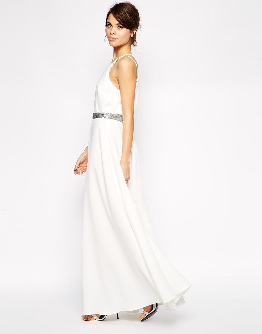 9e1f1e282ea ASOS Drape Back Maxi Dress With Belt