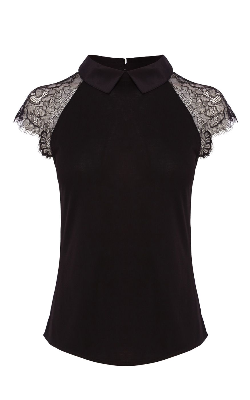 dbafe98864f LACE SHORT SLEEVE SILK COLLAR JERSEY TOP | Luxury Women's new-in_garments | Karen  Millen