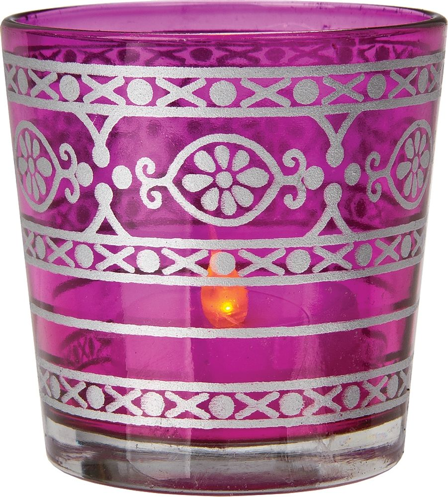 Clearance glass candle holder inch fuchsia pink mehndi