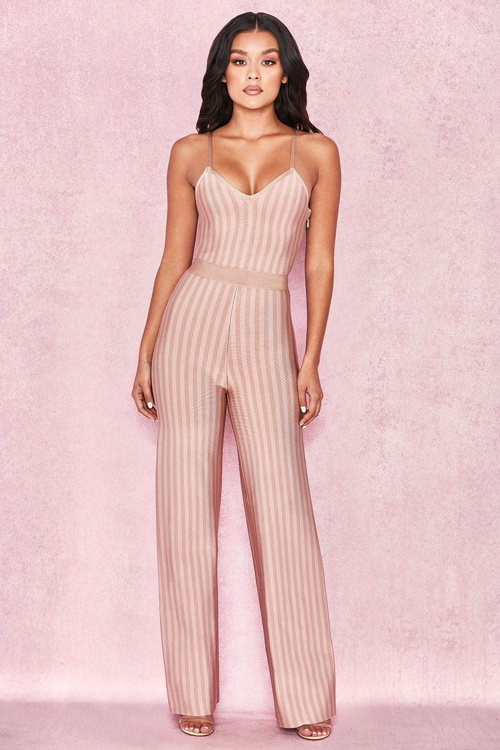 good reputation sold worldwide attractivefashion Clothing : Jumpsuits : 'Devi' Taupe + Pale Pink Strappy ...