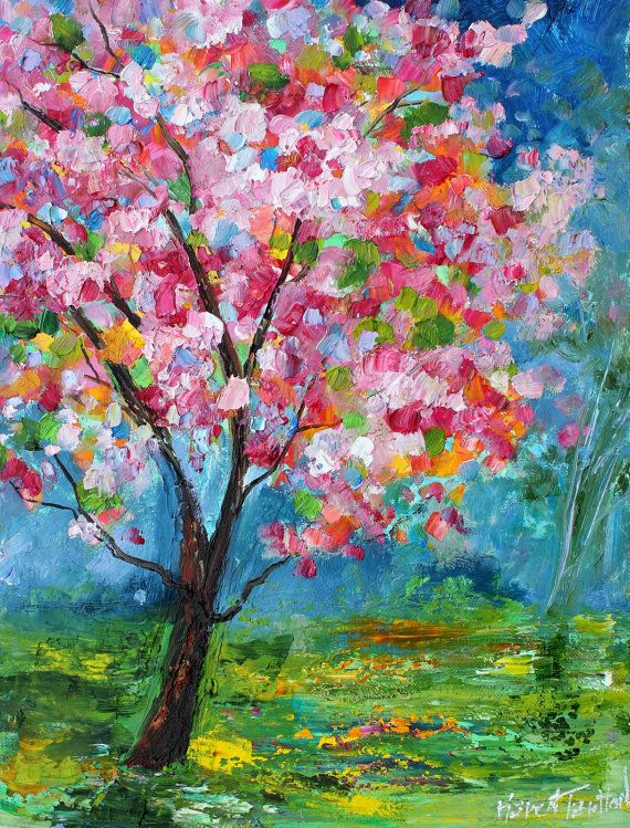 Original Oil Painting Spring Tree Of Life Landscape Abstract Impressionism Fine Art Impasto On Canvas By Karen Tarlton Tree Painting Art Painting Spring Art